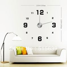 Find More Wall Clocks Information about DIY Large Frameless Wall Clock Modern Home Decor 3D Numbers Stickers Adhesive  Wallpaper Living Room Decoration 12S005 Free Post,High Quality decorative digital wall clock,China decor clock Suppliers, Cheap decorative heels from Guangzhou Malca Co., Ltd. on Aliexpress.com