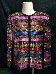 STUNNING Womens Beaded Sequined Silk Laurence Kazar Jacket Medium Gold Silver…