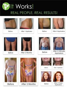 before and afters from using the itworks wraps