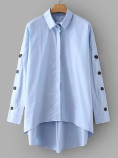 To find out about the Button Detail Dip Hem Shirt at SHEIN, part of our latest Blouses ready to shop online today! Trench Dress, Plain Shirts, Spring Shirts, Shirt Blouses, Blouses For Women, Shirt Dress, Fashion Outfits, My Style, Long Sleeve