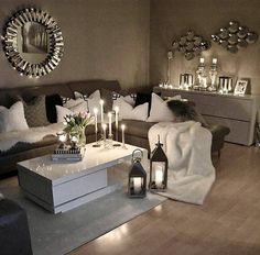 49 Small Cozy Living Room Decor Ideas For Your Apartment Living Room Decor Cozy, Living Room Grey, Home Living Room, Apartment Living, Living Room Designs, Living Room Decor Trends 2018, Living Room Themes, Apartment Furniture, Gray Family Rooms