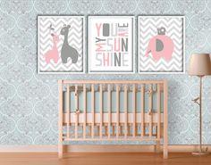 Pink and Grey Nursery Art Set Giraffe and Elephant by DIYwallART, $15.00