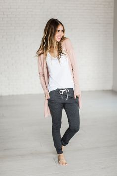 Every girl needs the perfect pair of comfs and what's better than gray with pink & totally comfortable? Nothing. That's what makes these so great! Paired here with THIS Cardigan 95% Cotton/5% Spandex