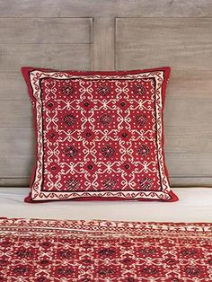 The Ruby Kilim rustic red black King designer bedspread showcases a striking kilim inspired dramatic black and tan geometrical print grounded in deep ruby red. Black Throw Pillows, Throw Cushions, Holiday Tablecloths, Christmas Bedroom, Quilted Bedspreads, Cotton Pillow, Cushion Covers, Pillow Shams, Rustic