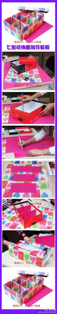 DIY Colorful Storage Box by manuela Diy Storage Boxes, Art Storage, Cardboard Crafts, Paper Crafts, Diy Karton, Diys, Diy Rangement, Creation Deco, Ideias Diy