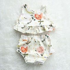 Itty bitty teeny tiny Floral Dreams Peplum Set http://Liapela.com