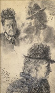 Adolph Menzel | Three Studies of Old Woman | 1899 | The Morgan Library & Museum