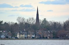 Burlington, NJ; the newer St. Mary's Church is seen in the center of the photo.