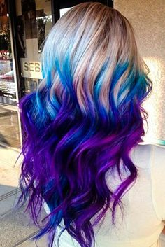 Fabulous Purple and Blue Hair Styles Purple and blue hair hair styles are all the rage, and we wish to experiment with the hair color.Purple and blue hair hair styles are all the rage, and we wish to experiment with the hair color. Hair Color Purple, Cool Hair Color, Purple Ombre, Hair Colours, Ombre Colour, Color Blue, Purple Hair Streaks, Galaxy Hair Color, Funky Hair Colors
