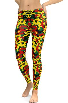 Rasta Camouflage Leggings via COSMOTEE. Click on the image to see more!