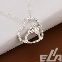High quality jewelry silver plated heart pendant necklace link chain necklace jewelry romantic style gift for girlfriend