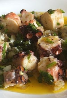OCTOPUS SALAD with ONION, CILANTRO & PARSLEY [Portugal] [foodfromportugal]