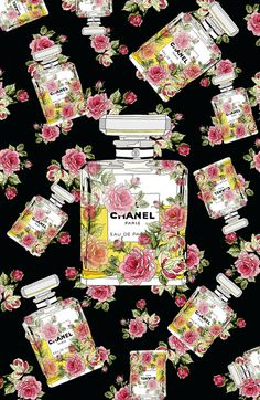 Floral Bottle,inspiring by Chanel 9 Art Print