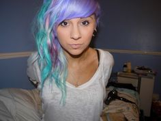 Lavender, light blue, and pink pastel hair.