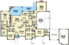Everything on One Floor - 48327FM | 1st Floor Master Suite, Butler Walk-in Pantry, CAD Available, Corner Lot, Den-Office-Library-Study, European, French Country, Media-Game-Home Theater, PDF, Split Bedrooms | Architectural Designs