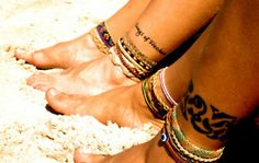 traditional/tribal ankle bracelet tattoo