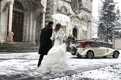 winter bride & groom getaway shot | photo by daniele caponi