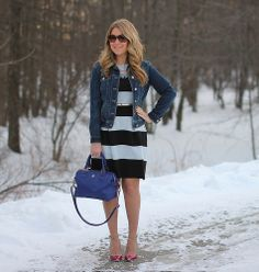 How to wear a denim jacket to work: pair it with a striped dress!  This site has tons of office outfit inspiration, click through to check it out!