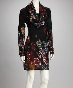 Black & Red Abstract Floral Cowl Neck Sweater Dress by Adore
