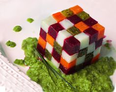 """Rubik's cube salad """"The Vinegret."""" Diced carrots, potatoes, pickled cucumbers, and beets. Dressing: peas (or/and beans) tossed with a tad of black pepper, vinegar and oil."""