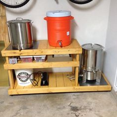 Homebrewing rig Show Me Your Wood Bre - homebrewing Home Brewery, Home Brewing Beer, Gourmet Recipes, Gourmet Foods, Mead, Kitchen Cart, Keurig, Rigs, Homebrewing