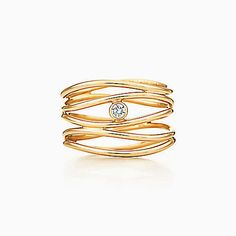 Anel de diamante de cinco fileiras Wave de Elsa Peretti™ em ouro 18k.