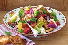 Unser beliebtes Rezept für Bunter Tomaten-Ciabatta-Salat mit Mozzarella und mehr als 55.000 weitere kostenlose Rezepte auf LECKER.de.