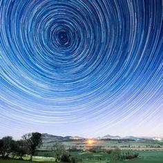 A star trail of Polaris as seen from Pwllheli