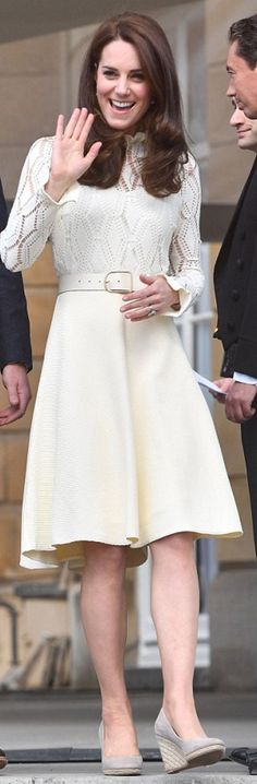 Kate Middleton in Dress – See by Chloe  Shoes – Moonsoon  Belt – Acne Studios  Earrings – Kiki McDonough