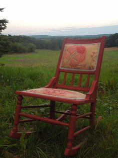 Upholstered Red Rocking Chair by tigerlilysn on Etsy, $125.00 Red Rocking Chair, Christmas Gifts, Trending Outfits, Handmade Gifts, Unique, Vintage, Etsy, Home Decor, Xmas Gifts