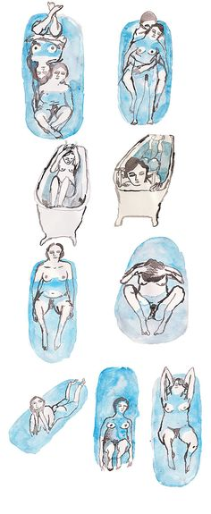 Illustrator Pia Bramley... I love this group of illustrations. I love being in the bath and I often think about the vulnerability of the figure in such a tight space. Just sweet.