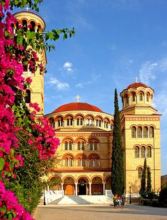 """gallerybyzantium: """" The Monastery of Aghios Nektarios (Aegina, Greece) was built on top of the ruins of a Byzantine church in honor of St. Nektarios (whose relics are preserved in the first chapel). (Photo by Dennis Jarvis, via Wikimedia Commons) """" Places Around The World, Oh The Places You'll Go, Around The Worlds, Beautiful World, Beautiful Places, Bósnia E Herzegovina, Acropolis, Greek Isles, Place Of Worship"""