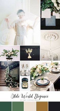 Olde World Elegance Wedding Inspiration Board inspiration boards Olde World Elegance - Romantic Wedding Inspiration in a Chic Colour Palette of White & Green - Chic Vintage Brides September Wedding Colors, Fall Wedding Colors, Wedding Color Schemes, Art Deco Wedding Flowers, 1920s Wedding, Trendy Wedding, Wedding Shot, Wedding Dj, Wedding Lace