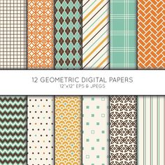 Geometric Digital Paper, Geometric Scrapbook paper, argyle digital paper pack, background, Vector Graphics, digital download, commercial use