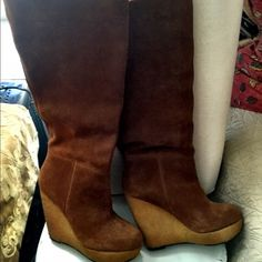 "Suede boots Suede boots rust color size 7.5 pull up no zipper new never worn (too high a heel for me!) 5"" heel with 1"" platform really beautiful Steve Madden Shoes Heeled Boots"