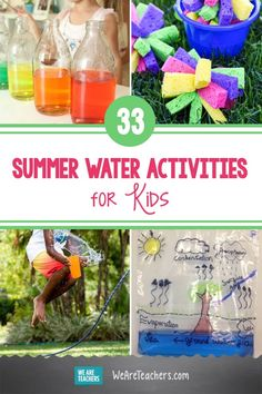 33 Splash-tastic Water Activities for Summertime Fun and Learning. Summertime is fun time! These water activities range from making your own sprinkler to building water balloon pinatas, and a whole lot more. #summerbreak #summertime #outdoor #activities #activitiesforkids #summerlearning #learningathome Water Activities, Preschool Activities, Outdoor Activities, Balloon Pinata, Egg And Spoon Race, Water Blob, We Are Teachers, Summer Slide, Kiddie Pool
