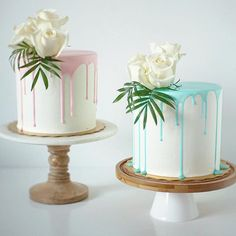• Light Blue & Pink Drip Cake • ✨ Orders…