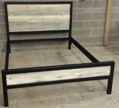 Modern Industrial Powder Coated High Back Bed Frame w/ by JevWorks