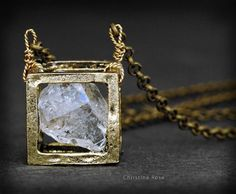RAW DIAMOND NECKLACE Floating Cube by ChristinaRoseJewelry, $81.00