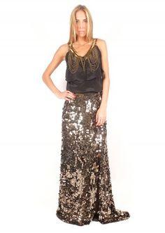 Falda dorada bordada - Golden skirt with embroidery   www.sayan.es   SAYAN