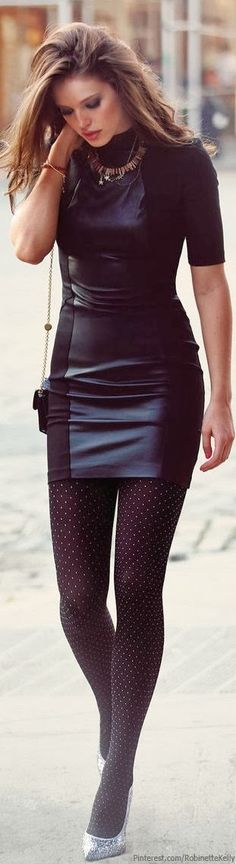 Really cute leather black dress with polka dots black tights