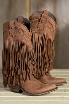 Women�s Liberty Black Buckskin Vegas Fringed Leather Western Boots  by Overland Sheepskin Co. (style 52408)