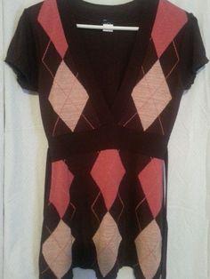 Womens Brown Pink Knit Blouse M  Short Sleeved Vanity Spring Summer #Vanity #KnitTop