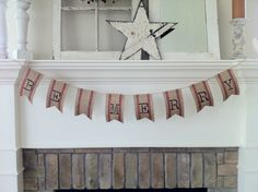 "Red Striped Jute Webbing, ""BE MERRY"", Christmas Garland"