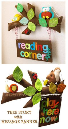 Like this idea could recreate something similar when we get the new library..   maybe real branches small stuffed animals..hmmnn