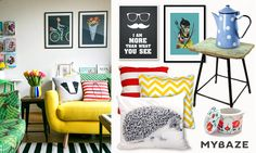 An interior that is full of colors and prints make our everyday living more cheerful! And don't forget about decor pillows. #colorful #interior #posters #prints