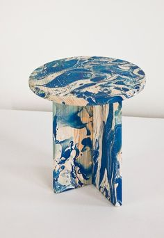 Écume (Foam) ~ this furniture series involves a randomized process of painting to make unique marbleized patterns, with materials of pine wood, enamel paint, and clear lacquer | Ferréol Babin