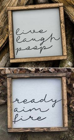 "These would be perfect for my kids bathroom! The would love the ""live laugh poop"" one the best! haha. Set of 2 Wood Sign. Ready Aim Fire Live Laugh Poop, Bathroom Art, Rustic Bathroom Sign, Kids Bathroom Decor, Funny Wood Sign, Rustic Decor, farmhouse sign, farmhouse decor, wall decor, home decor #ad"