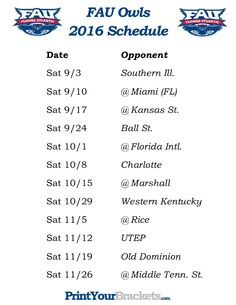 Printable FAU Owls Football Schedule 2016 College Football Schedule aaba161bd