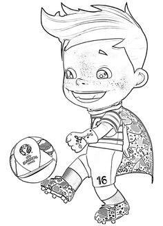 #Mascotte #Super Victor, #Frankrijk #EK #voetbal 2016 #kleurplaat